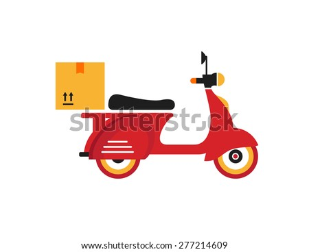 Red retro vintage delivery motor bike icon isolated on white background - stock vector