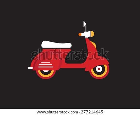 Red retro vintage motor bike icon isolated on dark background - stock vector
