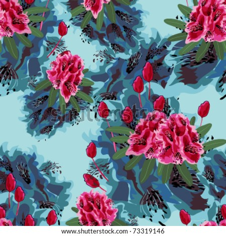 red rhododendron and tulip seamless pattern on bright blue background, Abstract color painting flowers, vector - stock vector