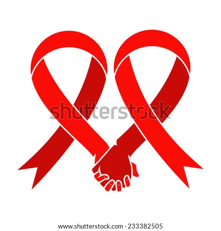 Red ribbon, aids awareness, heart hand symbol, vector illustration - stock vector