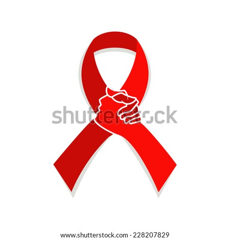 Red ribbon aids awareness, vector illustration solidarity concept  - stock vector