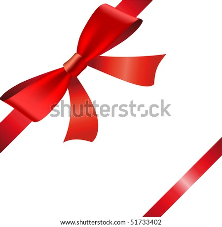 Red ribbon and bow isolated