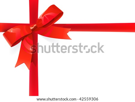 red ribbon and bow on white background. Easy replaceable with your image