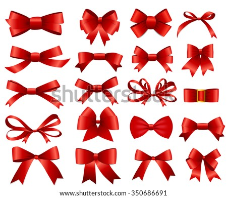 Red Ribbon and Bow Set for Your Design. Vector illustration EPS10 - stock vector