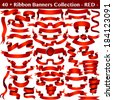 Red Ribbon Banners Collection Isolated on white. Vector  - stock