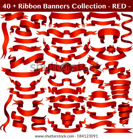 Red Ribbon Banners Collection Isolated on white. Vector