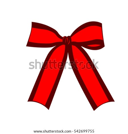 Red ribbon bow. Design element. Vector illustration isolated on white background