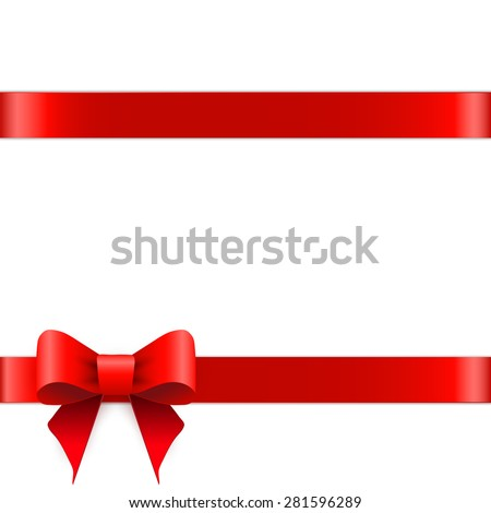 Red ribbon bow horizontal border   - stock vector