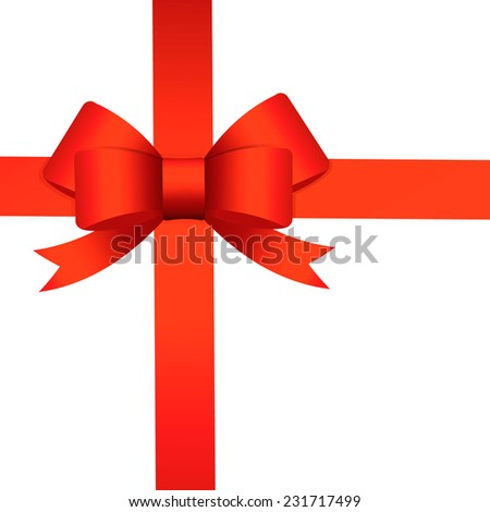 Red ribbon bow isolated on white background, vector illustration - stock vector