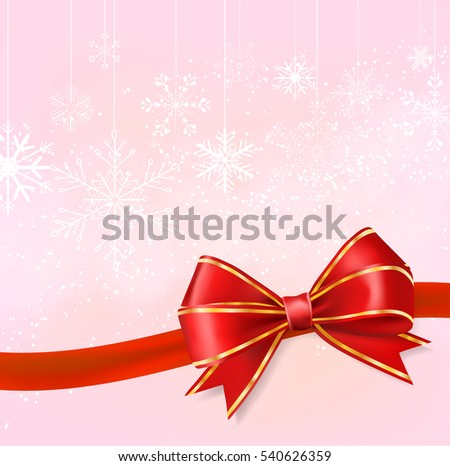 red ribbon bow on snowflakes on pink background. holiday template vector illustration