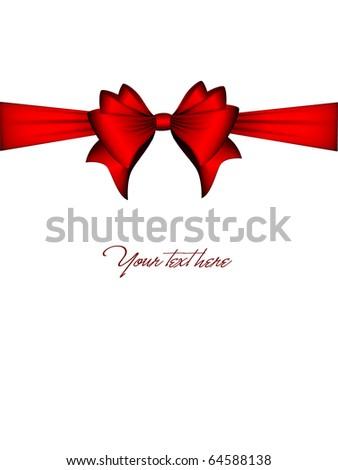 Red Ribbon Bow | Vector Christmas Card - stock vector