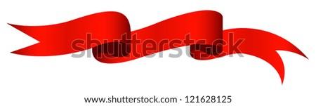 Red Ribbon - Christmas Vector Illustration - stock vector