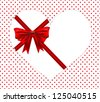 Red ribbon cover on heart shape over red polka dot - stock vector
