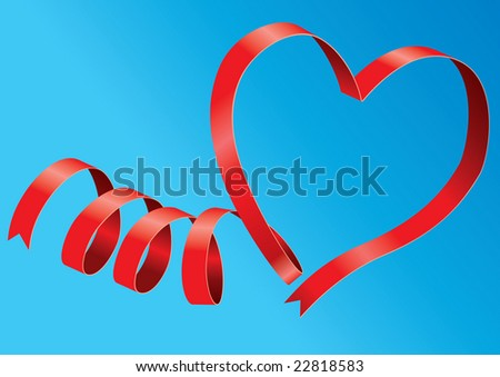 Red ribbon form a love shape ready to use during valentine holiday celebration.
