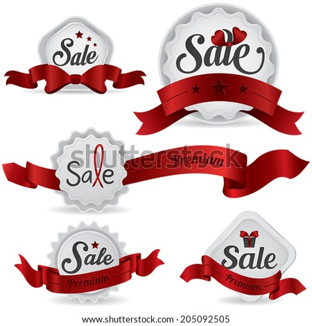Red ribbon glossy sale badges with various shape and design, create by vector  - stock vector