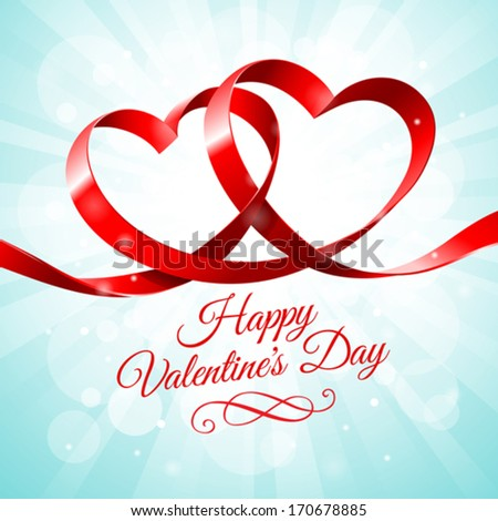 Red ribbon hearts on a blue background - stock vector