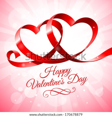 Red ribbon hearts on a pink background - stock vector