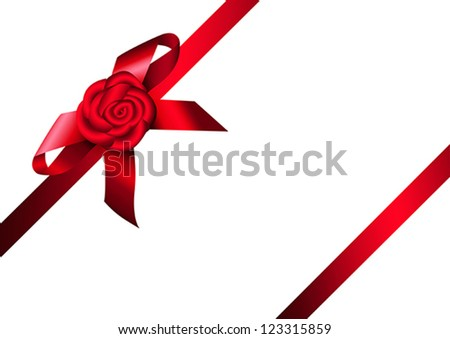 Red ribbon rose and bow. Design for gift, invitation card or present box. Vector eps10 illustration. Raster file included in portfolio