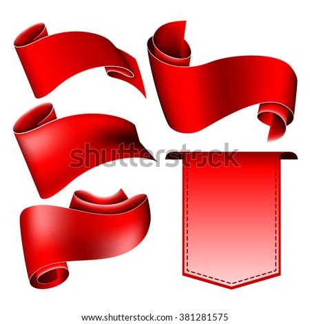 Red ribbon set - stock vector