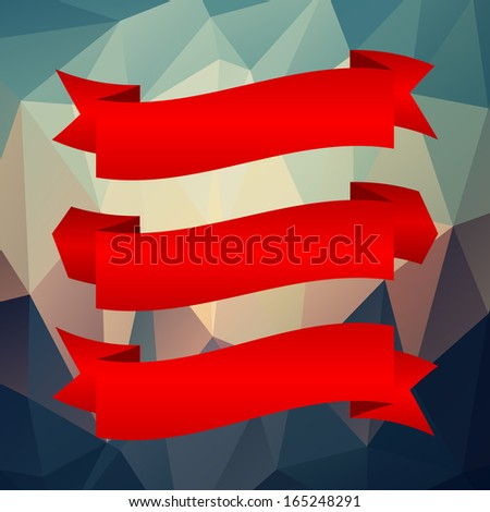 Red ribbon set on geometric background. Complete set of banners and ribbons - stock vector