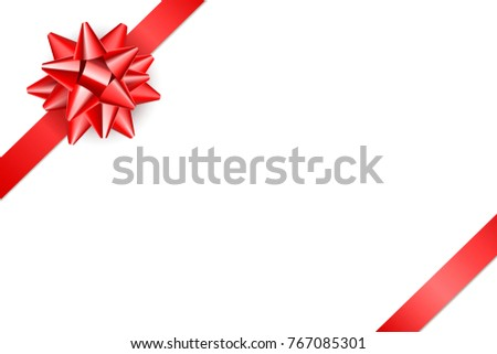 Red ribbon with bow. Isolated