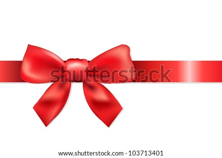 Red Ribbon With Bow, Isolated On White Background, Vector Illustration - stock vector