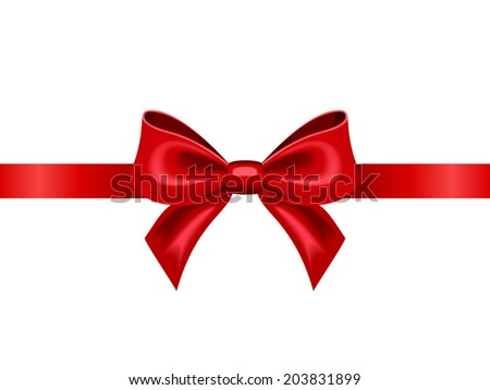 Red ribbon with bow on a white background. Vector illustration. - stock vector