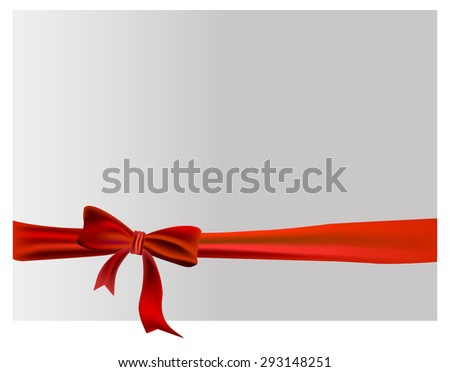 red ribbon with bow, square composition isolated on white background.For the design of postcards - stock vector