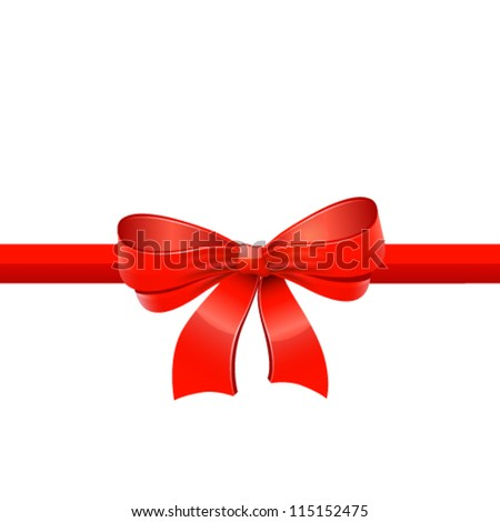 Red ribbon with bow. Vector - stock vector