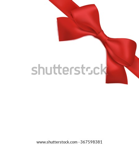 Red ribbon with bow. Vector illustration. Greeting card template - stock vector