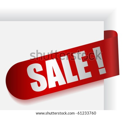 Red ribbon with text SALE ! - stock vector