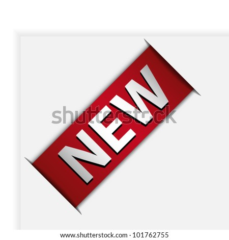 Red ribbon with word new in corner of page - stock vector