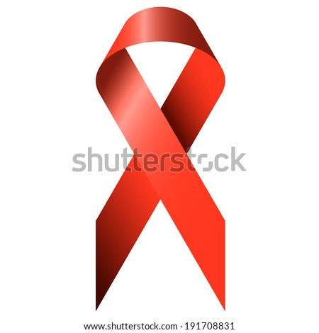red ribbon - World AIDS Day - stock vector