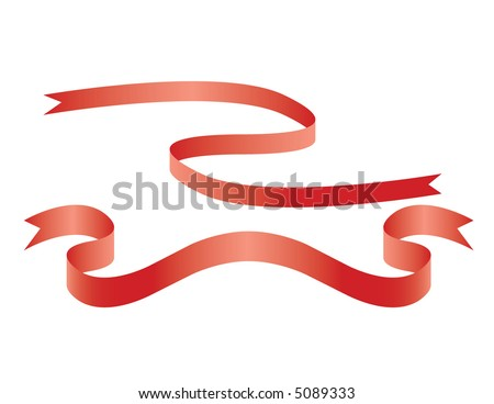 Red ribbons - stock vector
