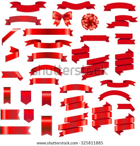 Red Ribbons And Bow Set With Gradient Mesh, Vector Illustration - stock vector