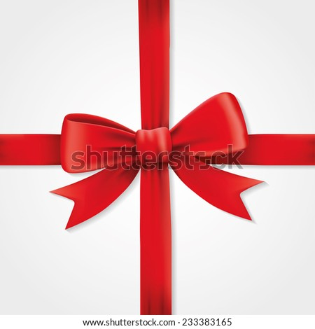 Red ribbons and greeting card, bows, Vector, happy new year, gift