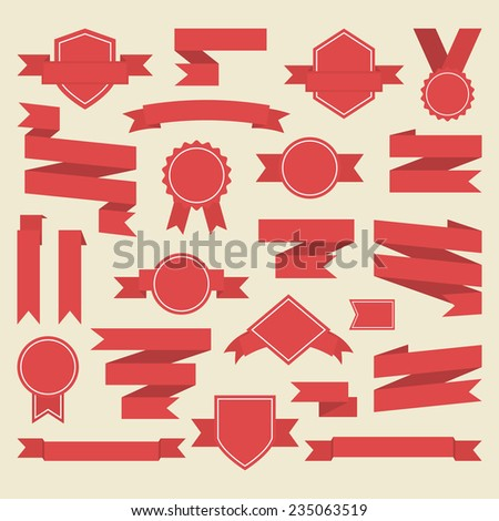 Red  ribbons,medal,award ,set isolated on white background.Vector.Banner web - stock vector