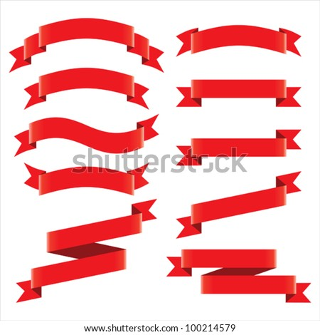 Red ribbons set. - stock vector