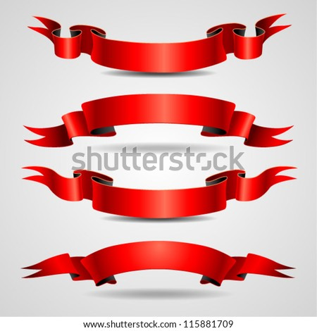 Red ribbons set - stock vector