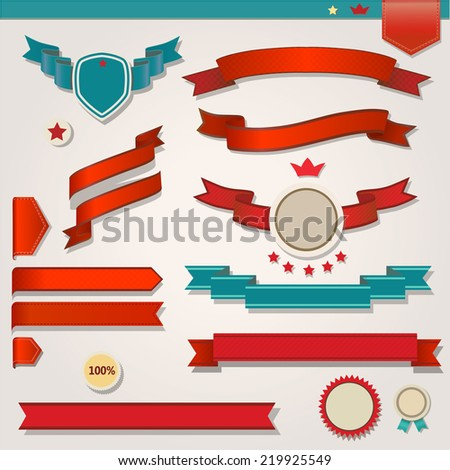 Red Ribbons Set, Isolated On White Background, Vector Illustration - stock vector