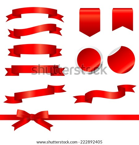 Red Ribbons Set isolated On White Background. Vector Illustration  - stock vector