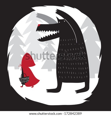Red Riding Hood and wolf walking in the woods. Wolf swallowed grandmother. Red Riding Hood fairy tale. - stock vector