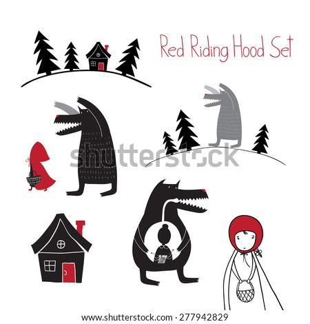 Red Riding Hood set. Wolf walking in the woods. Wolf swallowed grandmother. Red Riding Hood fairy tale. - stock vector