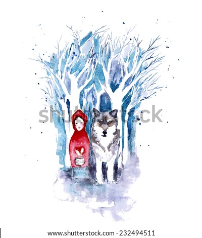 Red Riding Hood. Watercolor fairytale illustration with little girl and wolf in dark snow forest. Vector - stock vector