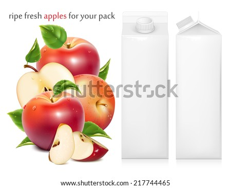 Red ripe apples and apples slices with green leaves and water drops. Juice white carton package. Vector illustration - stock vector