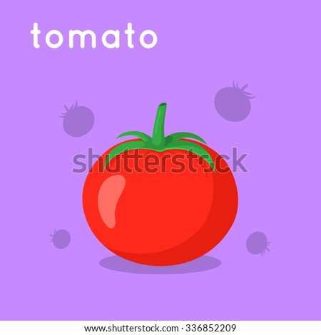 Red ripe tomato. Cartoon simple illustration. Vector vegetable and word.  - stock vector