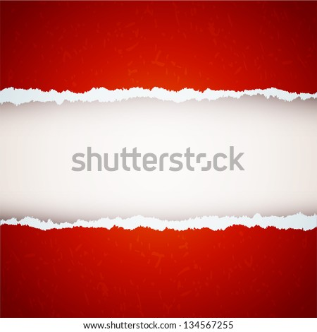 red ripped paper - stock vector