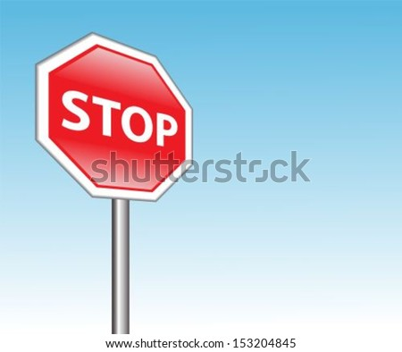"red road sign ""stop"" on a background of blue sky - stock vector"