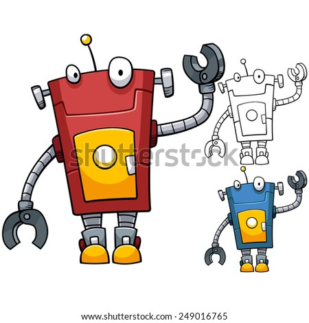 Red robot, hand up - stock vector