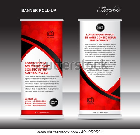Red Roll Banner Template Stand Template Stock Vector